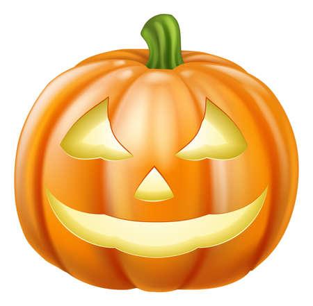 Ilustración de A drawing of an orange carved Halloween pumpkin lantern - Imagen libre de derechos