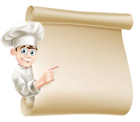 Ilustración de Illustration of a happy chef character pointing at a scroll maybe with a menu on it - Imagen libre de derechos