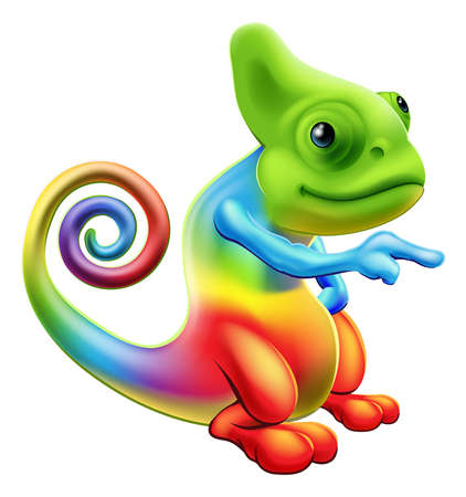 Illustration pour Illustration of a cartoon rainbow chameleon mascot standing and pointing - image libre de droit