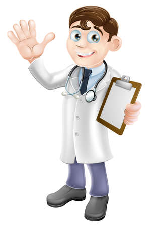 Illustration pour An illustration of a friendly cartoon doctor holding a clipboard and waving - image libre de droit
