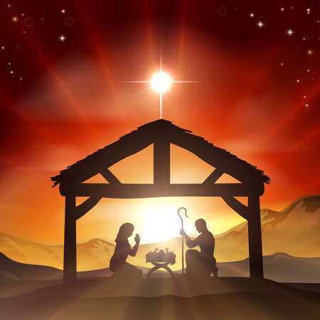 Illustration pour Christmas Christian nativity scene with baby Jesus in the manger in silhouette, and star of Bethlehem - image libre de droit