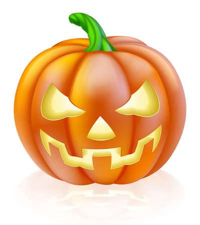 Ilustración de A drawing of a cartoon Halloween pumpkin with classic scary face carved into it - Imagen libre de derechos
