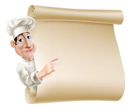 Ilustración de Illustration of a cartoon chef pointing at a scroll or banner perhaps a menu - Imagen libre de derechos