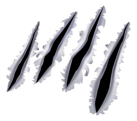 Illustration pour An illustration of a monster claw or hand scratch or rip through a metal background - image libre de droit