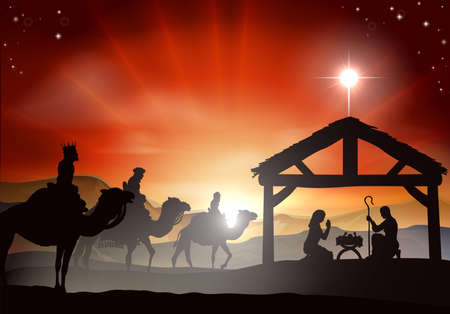 Illustration pour Christmas nativity scene with baby Jesus in the manger in silhouette, three wise men or kings and star of Bethlehem - image libre de droit