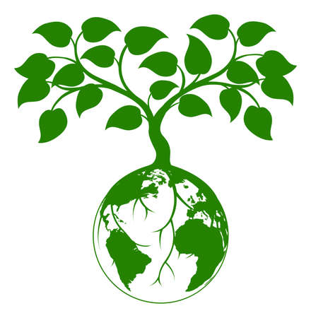 Ilustración de Illustration of a tree growing with its roots round the earth or growing out of the earth - Imagen libre de derechos