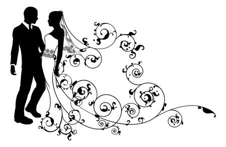 Illustration pour A bride and groom wedding couple in silhouette with beautiful bridal dress and abstract floral pattern. Could be having their first dance.  - image libre de droit
