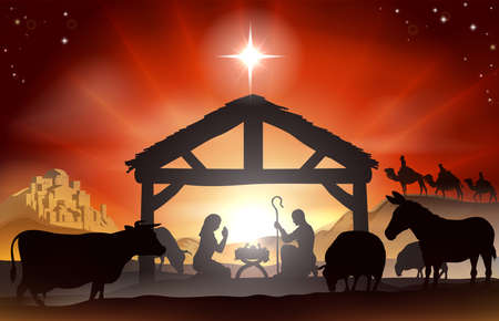 Illustration pour Christmas Christian nativity scene with baby Jesus in the manger in silhouette, three wise men or kings, farm animals and star of Bethlehem - image libre de droit