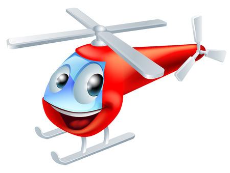 Illustration pour Illustration of a cute red helicopter children's cartoon character - image libre de droit