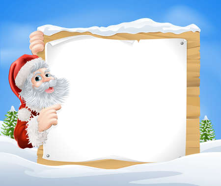 Illustration pour An illustration of a snow scene Christmas Santa sign with Santa Claus peeking round the sign and pointing in the middle of a winter landscape - image libre de droit