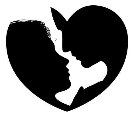 Illustration pour Couple faces heart silhouette concept  Silhouette of man and womans heads forming a heart shape - image libre de droit
