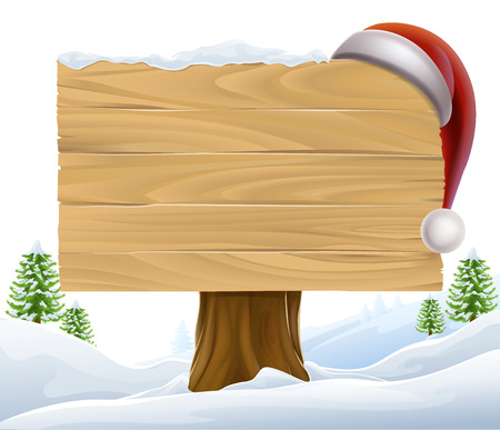 Illustration for A Christmas wooden sign with a Santa Hat hanging on it in a winter scene with trees in the background - Royalty Free Image