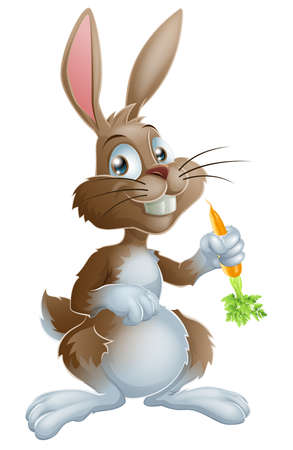 Illustration pour Cartoon bunny rabbit or Easter bunny holding a carrot - image libre de droit