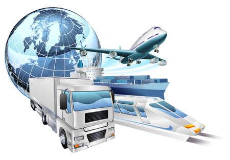Photo pour Dynamic logistics city business concept with delivery transport vehicles and globe - image libre de droit
