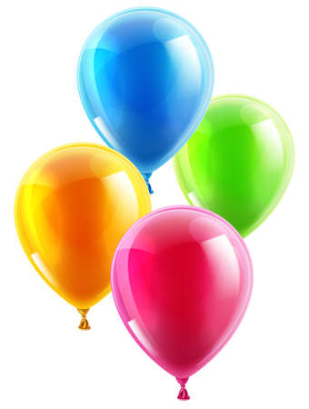 Illustration pour An illustration of a set of colourful birthday or party balloons - image libre de droit