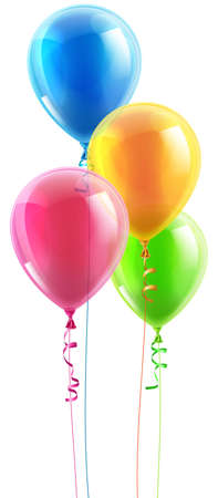 Illustration pour An illustration of a set of colourful birthday or party balloons and ribbons - image libre de droit