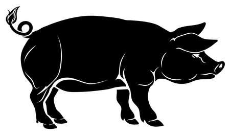 Ilustración de An illustration of a pig, could be a food label or menu icon for pork - Imagen libre de derechos