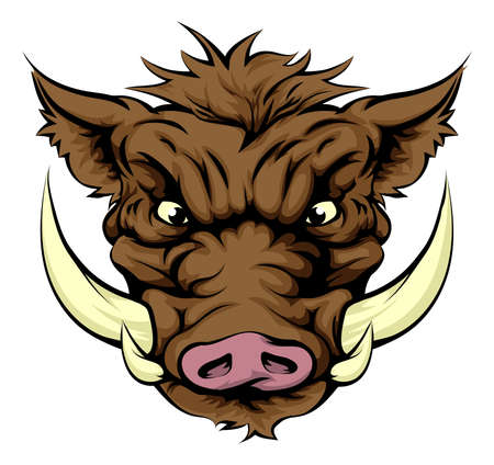 Illustration pour A tough boar animal character or sports mascot - image libre de droit
