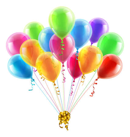 Illustration pour An illustration of a set of colourful birthday or party balloons with ribbons tied together with a big gold bow - image libre de droit