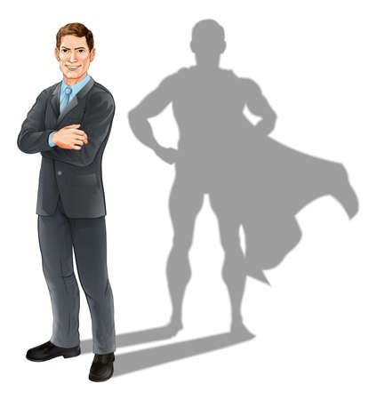Ilustración de Hero businessman concept, illustration of a confident handsome business man standing with his arms folded with superhero shadow - Imagen libre de derechos