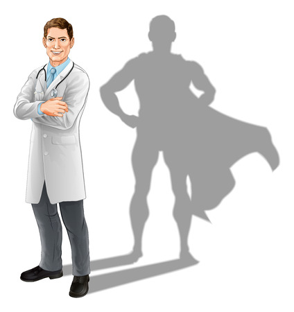 Ilustración de Hero doctor concept, illustration of a confident handsome doctor standing with his arms folded with superhero shadow - Imagen libre de derechos