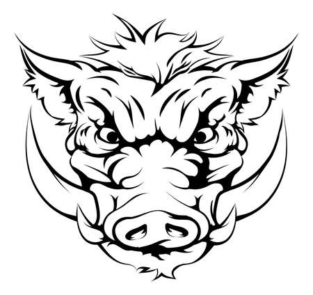Illustrazione per Drawing of a boar animal character or sports mascot - Immagini Royalty Free
