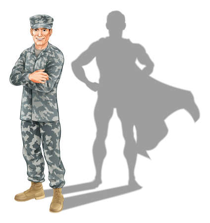 Illustration for  soldier concept. A conceptual illustration of a military soldier standing with his shadow in the shape of a superhero - Royalty Free Image