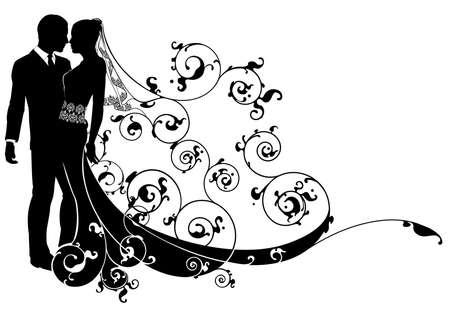 Foto de A wedding illustration of a bride and groom dancing or about to kiss - Imagen libre de derechos