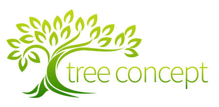 Ilustración de Tree icon concept of a stylised tree with leaves, lends itself to being used with text - Imagen libre de derechos