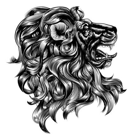 Ilustración de An original illustration of a lion in a vintage woodblock style - Imagen libre de derechos