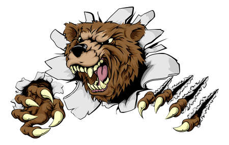 Illustration pour A scary Bear ripping through the background with sharp claws - image libre de droit