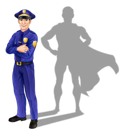 Illustration pour Hero policeman concept, illustration of a confident handsome policeman or police officer standing with his arms folded with superhero shadow - image libre de droit