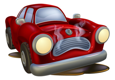Illustrazione per A wrecked cartoon car needing fixing by a mechanic or automotive garage - Immagini Royalty Free