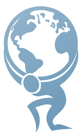 Illustration for Conceptual strength icon of Atlas holding the globe on his back - Royalty Free Image
