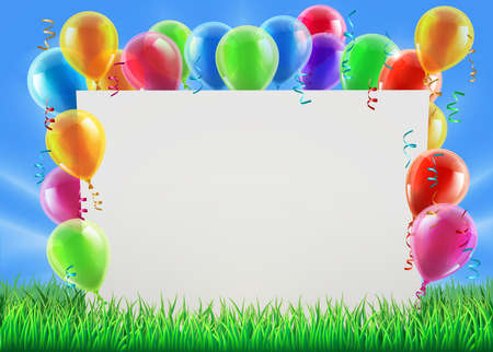 Illustration pour An illustration of a sign surrounded by party balloons in a field on a bright spring or summer day - image libre de droit