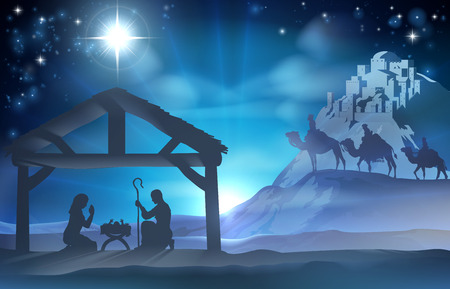 Illustration pour Religious Nativity Christian Christmas scene of baby Jesus in the manger with Mary and Joseph and the three wise men - image libre de droit