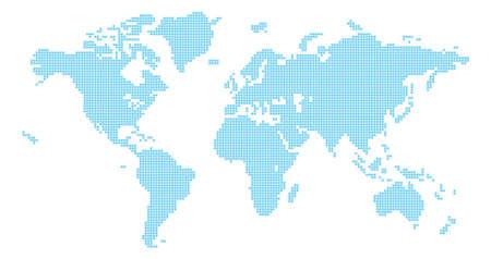 Illustration pour Squares world map illustration of world map made up of square shapes - image libre de droit