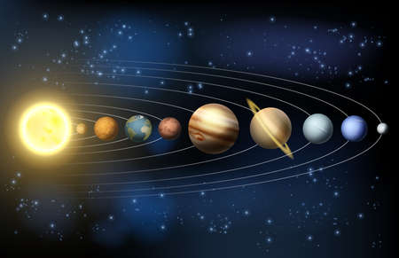 Illustration pour Solar system illustration of the planets in orbit around the sun with labels - image libre de droit