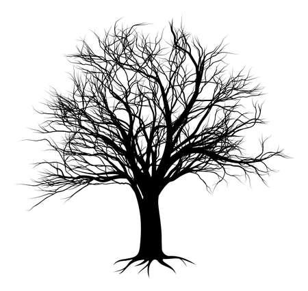Illustration pour An illustration of a bare tree in silhouette - image libre de droit