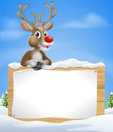 Ilustración de Cartoon Christmas Reindeer Sign of one of Santa's cute red nosed reindeer leaning over a snowy sign - Imagen libre de derechos