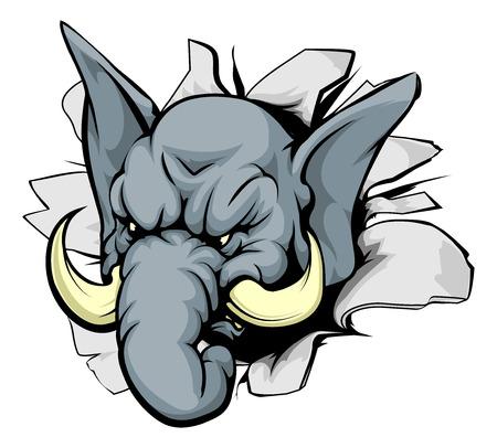 Illustration pour A mean looking elephant animal mascot breaking through a wall - image libre de droit