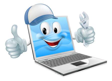 Ilustración de Laptop computer engineer, plumber or mechanic. Could concern computer repair or maintenance - Imagen libre de derechos
