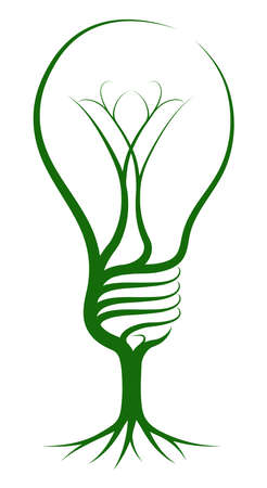 Illustration pour Light bulb tree concept of a tree growing in the shape of a lightbulb. Could be a concept for ideas or inspiration - image libre de droit