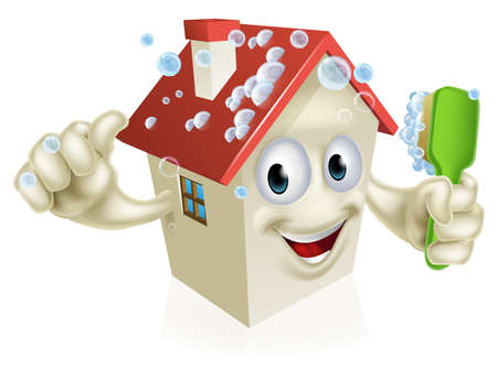 Illustration for An illustration of a cartoon house cleaning mascot giving a thumbs up and cleaning himself with a bubble covered brush - Royalty Free Image