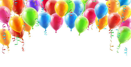Illustration pour Balloons header background design element of birthday or party balloons - image libre de droit