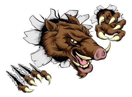 Ilustración de A scary boar animal mascot character breaking through wall with claws - Imagen libre de derechos