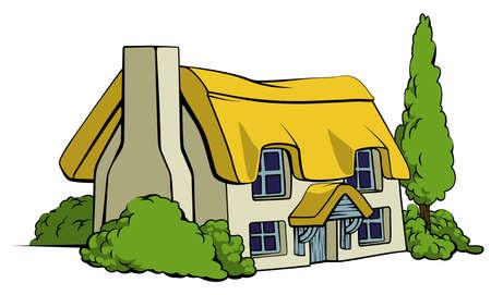 Ilustración de An illustration of a thatched country cottage or farm house - Imagen libre de derechos
