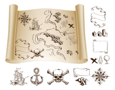 Illustration pour Example map and design elements to make your own fantasy or treasure maps. Includes mountains, buildings, trees, compass, ship skull and crossbones and more. - image libre de droit