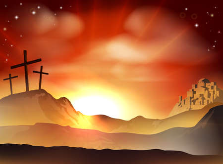 Illustration pour Dramatic Christian Easter concept of Jesus and the two thieves crosses on Calvary hill outside the city walls - image libre de droit