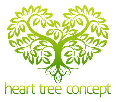Illustration for An abstract illustration of a tree growing in the shape of a heart concept design - Royalty Free Image